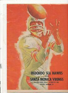 M1622 1963 FOOTBALL OFFICIAL PROGRAM REDONDO SEA HAWKS VS SANTA MONICA