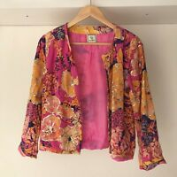 Coco Ribbon London Womens 100% Silk Floral Blazer / Cardigan, Size Small, Rare