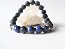 Bracelet élastique lapis lazuli / pierres de lave perles 8 mm - bleu gemme