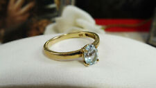 Vintage 925 Sterling Silver and Gilt Faceted Topaz Solitaire Dress Ring Size O