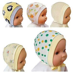 Gelb Newborn - 12 Monate Baby Unisex Hüte Mützen mit Schnürsenkel 100% Baumwolle