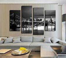 No Framed Canvas Print Home Decor Picture New York Brooklyn Bridge Black Skyline