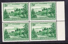 More details for norfolk is 1959 sg6a 3d emerald-green block of 4 unmounted mint cv£60 as singles