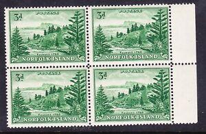 NORFOLK IS 1959 SG6a 3d emerald-green block of 4 unmounted mint cv£60 as singles