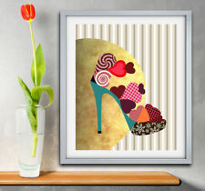 Art Pop Shoe Print Modern Giclee Woman Home Decor Poster Abstract Painting