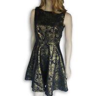 BNWT New Joe Browns Black Gold Dress Metalic Skater Size 10 Party Floral