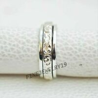 Solid 925 Sterling Silver Wide Band Spinner Ring Meditation Statement Ring GN254