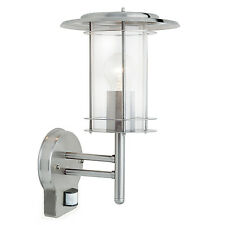 Endon York PIR outdoor wall light IP44 60W Polished stainless steel & clear pc