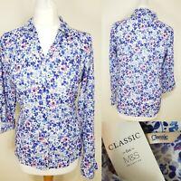 M&S Ladies White Button Down Shirt Blue Floral Print Size 8 BNWT Chintz