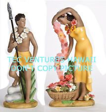 Gill Porcelain Retro Hawaiian Hula Statues Mini Yellow Set