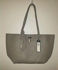 """BCBG Paris"" 2PC Gray/Black Lining Textured Faux Leather Tote/Bag Purse Large"