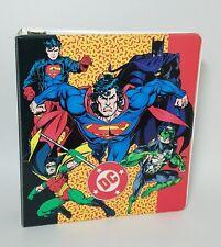 Vintage 1995 DC Comics Super Heroes Superman, Batman, 3 Ring Binder Notebook