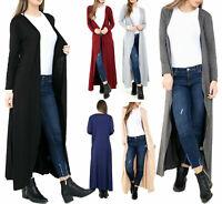 New Womens Ladies Longline Open Boyfriend Long Sleeve Maxi Cardigan Size UK 8-26