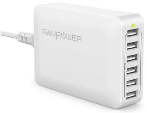 RAVPower USB Ladegerät 6-Port 60W USB Ladestation Mehrfach (Weiß)