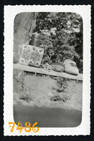 Orig. Vintage Photograph, still life, cards w shoes, abstract, unusual 1930's Hu