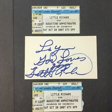 LITTLE RICHARD AUTOGRAPHED 3x5 card /2 STUBS AUGUSTINE AMPHITHEATER 2007 PC2444