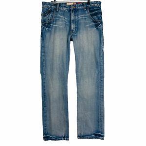 QUICKSILVER Men's Sz 34 Blue Regular Straight Leg Zip Fly Embroidered Denim Jean