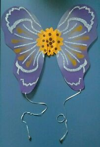 Child Butterfly Costume Wings Fairy Bells Purple & Yellow with Silver Glitter!