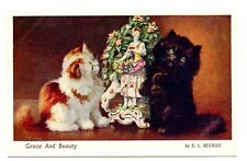 vintage cat postcard Beckles ginger black cats antique statue Grace and Beauty