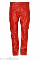 Men's Red 501 Genuine Hide Italian Real Leather Motorcycle Biker Jeans Trousers