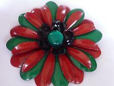 "VINTAGE RED/GREEN BIG 3""1/4 ENAMEL CHRISTMAS DAISY FLOWER  BROOCH CORSAGE1960'S"