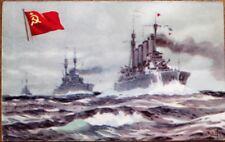 Military Ship 1940s Postcard w/Cuba Chocolate Advertising: SSSR/Aurora - USSR