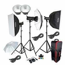 Godox 3* SK-400 400W Photo Studio Strobe Flash  Softbox Light Stand Trigger Kit