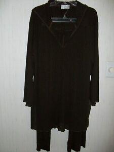 Beach Ware by J. Valdi. Dark Brown - 2 Pc. Hooded Jacket & Pants Size 12.