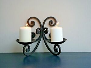 Wrought Iron/Steel Decorative Wall Mountable Double Candle Sconce