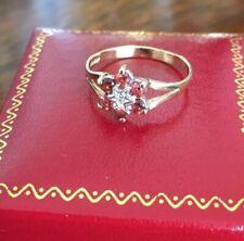 Ladies Vintage 375 9ct Gold Garnet & Diamond Flower Cluster Ring ~ Size O ~ Fab