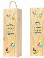 Personalised emoji and ballon Happy Birthday Wooden Wine Box with any Message