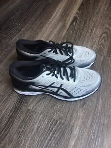 Asics men's gel kayano 24 running shoes silver black mid grey size 8 (2E) wide