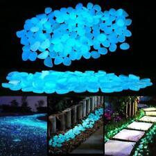 100pcs Blau Leuchtsteine Leuchtkiesel Solarsteine Nachtleuchtend Garten Dekor