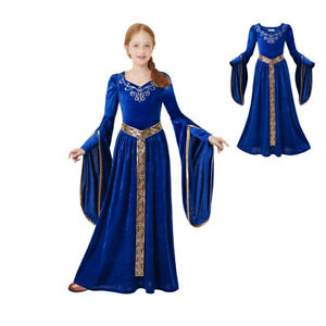 Girls Knight Medieval Princess Dress Renaissance Royalty Costume Queen Age 6-12