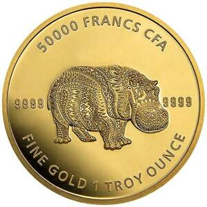 Tschad - 50.000 Francs 2020 - Mandala Hippo - Premium-Anlagemünze - 1 Oz Gold ST