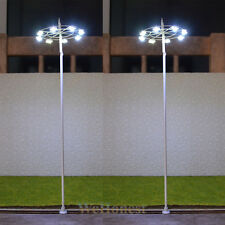 4 Pcs O Gauge Plaza Lampposts Model Lights SMD LEDs Made Square Lamp #018
