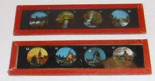 Antique Set of 2 Glass Magic Lantern Picture Slides Windmill River Mountains
