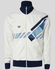 Adidas Retro Track Top in White & Blue