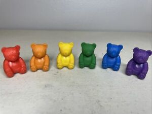Lot Of Vintage Teddy Bear Pencil Toppers Erasers Red Orange Yellow Green Blue
