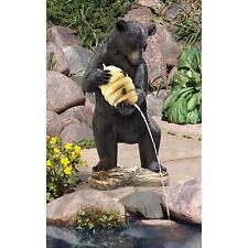 Mischievous Black Bear with Beehive Honey Home Garden Water Feature Statue