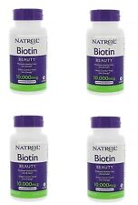 Natrol Biotin 10,000 Mcg Maximum Strength for Hair Skin & Nails 400 Tabs 4 Pack