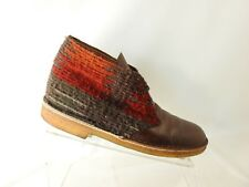 Clarks Size 8 M Brown Red Leather Yarn Lace Up Casual Chukka Dress Mens Shoes