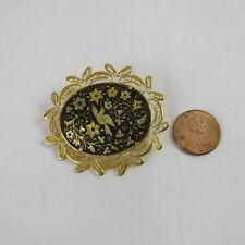 Gold Tone Multi-Color Enamel Hummingbird Flowers Brooch Pin Vintage Jewelry