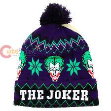DC Comic Joker Beanie Intarsia knitted Cuff Pom Beanie Hat Cap