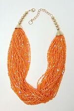 LOVELY ORANGE MULTI STRAND GLASS SEED & BUGLE BEED NECKLACE, GOLD TONE FITTINGS