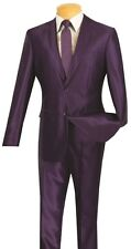 Men's Shiny Suit Single Breasted 2 Button 2 Piece Slim Fit Shark Skin S2RK-5