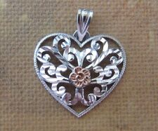 Michael Anthony USA Gold 14 kt White and Rose Gold Filigree Heart Pendant