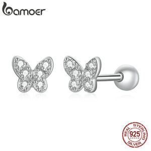 BAMOER European S925 Sterling Silver Pave CZ Spirit butterfly Earrings For Women