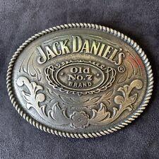 Jack Daniels Whiskey Vintage Silver Tone Metal Belt Buckle Oval Old No 7 Brand