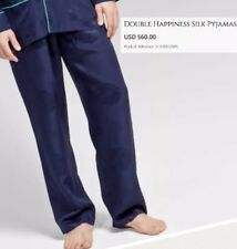 Shanghai Tang Silk Pants XL Navy Double Happiness Asian Print Drawstring Elastic